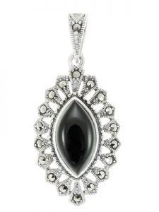 Marquise Onyx n Kite Shaped Cluster Marcasite Pendant